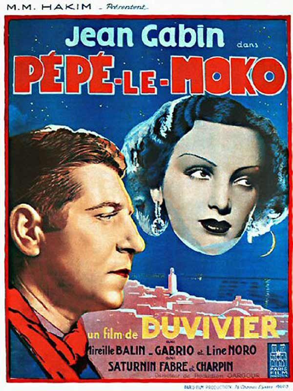 Pépé le Moko est un film de Julien Duvivier avec Jean Gabin, Mireille Balin. Synopsis : Guidé par l'inspecteur Slimane, la police tente désespérément de mettre la main sur Pépé le Moko, un célèbre et dangereux malfaiteur caché quelque par