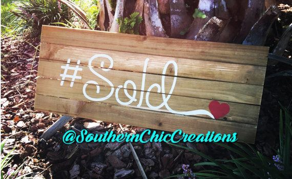 Wooden signs Wooden Sold Sign Realtor Sign Hand Painted