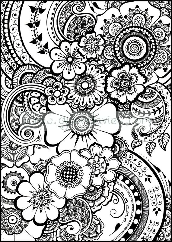 beautiful henna flowers and paisleys colouring in sheet instant download