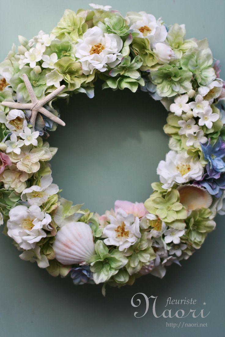 グリーンの紫陽花とローズのシェルリース shell wrearh