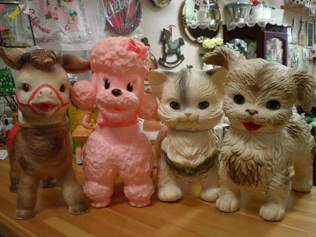 Collection of cute vintage Edward Mobley squeaky toy animals.