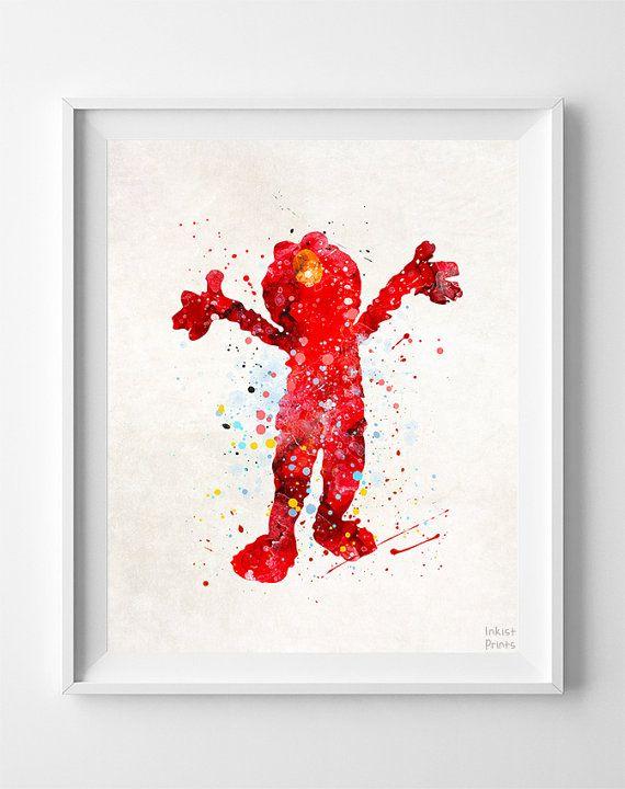 Elmo Print Sesame Street Watercolor Art Nursery by InkistPrints