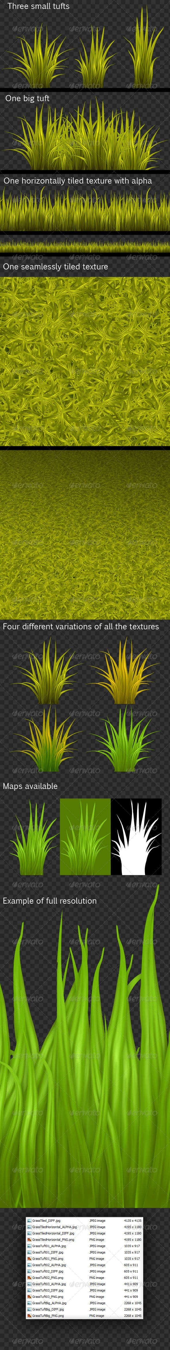 HQ Pack of Painted Grass Textures #3docean