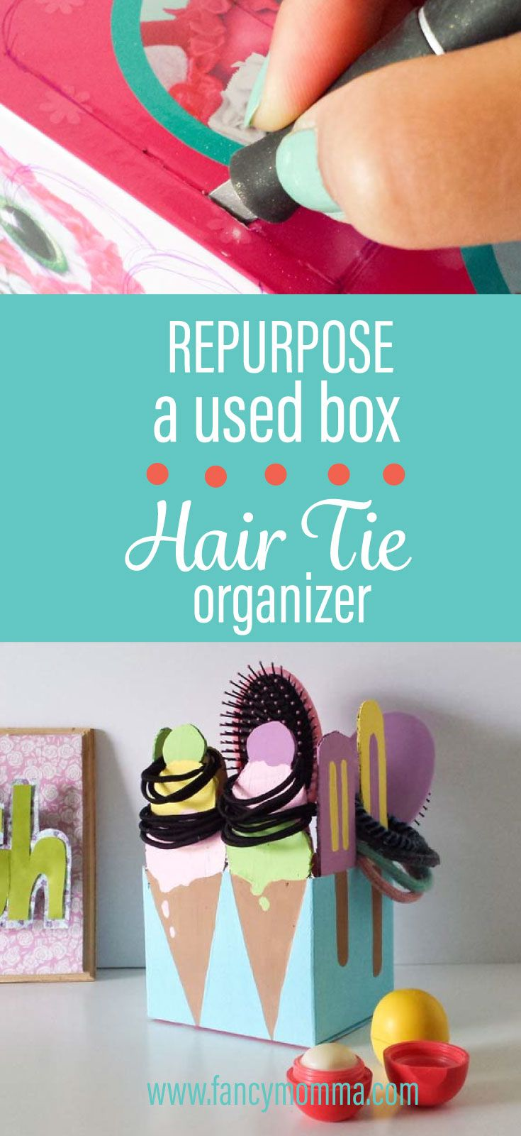 Repurpose any used box and turn it into something functional. Make it into a hair tie organizer. You gotta try this diy!