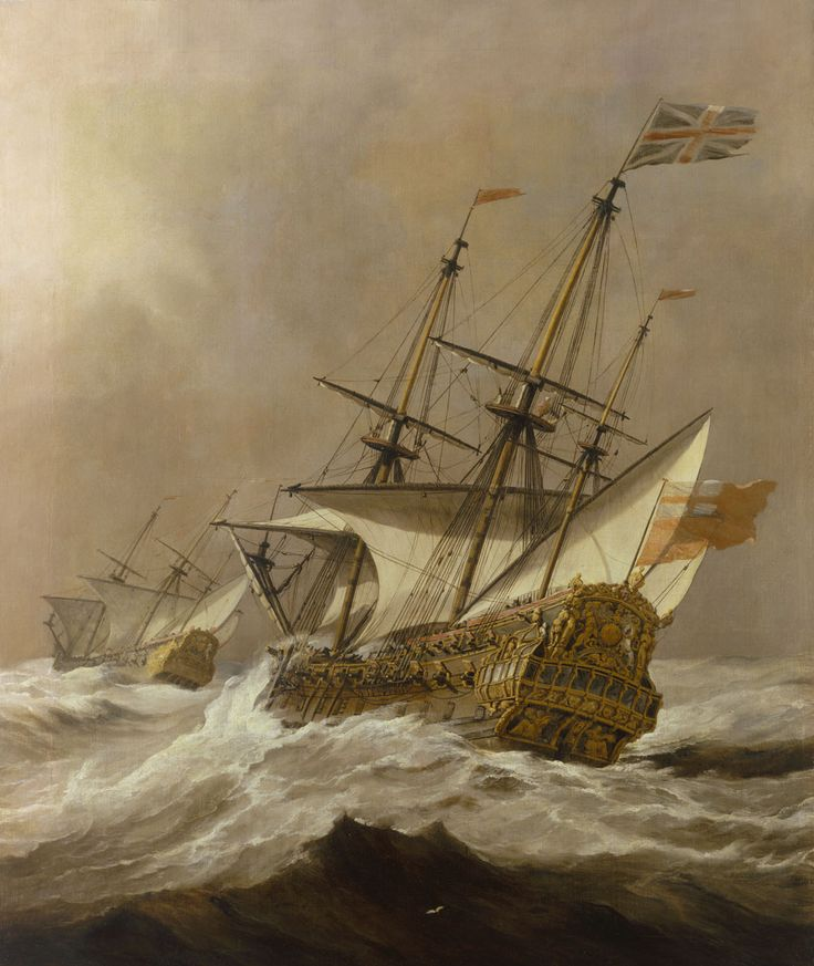 HMS Resolution in a Gale. By Willem van de Velde the Younger. Circa 1678.
