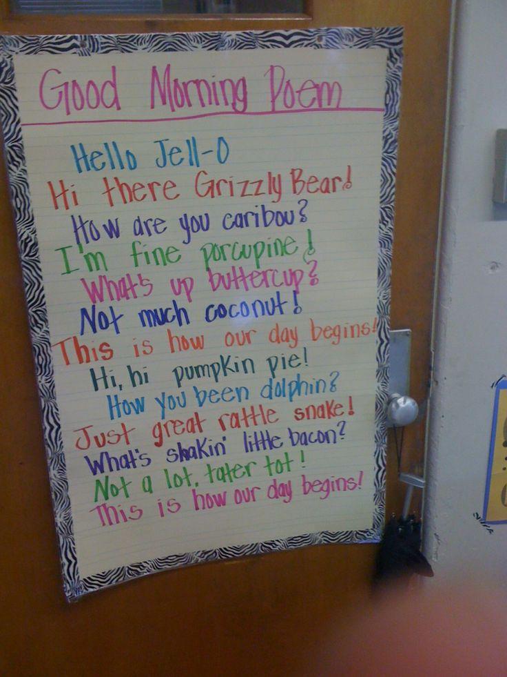 Good Morning Poem: Blog Hop, Morning Meetings, Morningmeeting, School Ideas, Good Morning, Morning Poem, Mornings, Classroom Ideas, Pocket Full