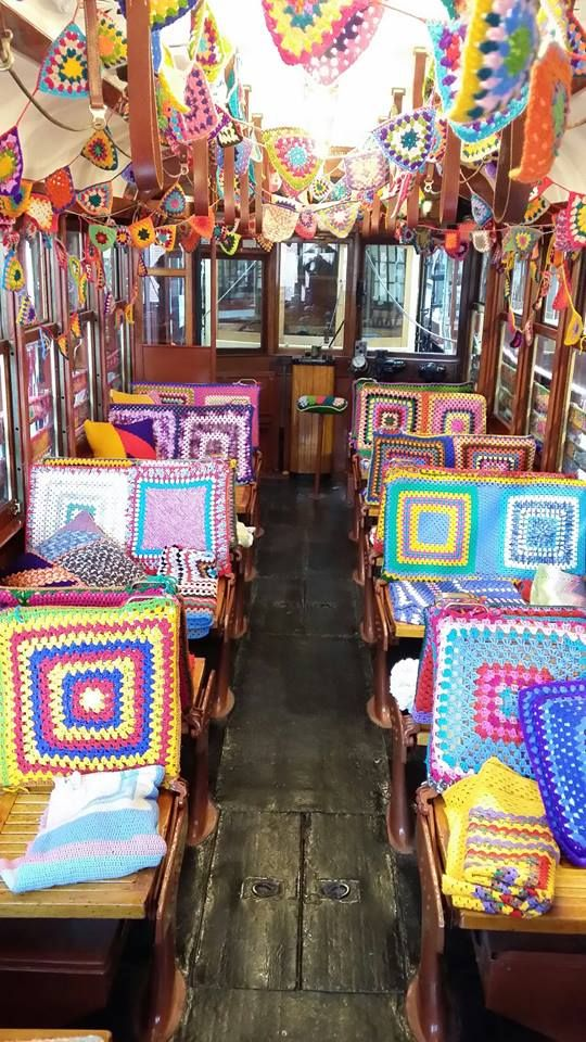 A Bendigo tram got festive for this weekend's Australian Sheep and Wool Show. Covered in hand-made crochet, both inside and out, Tram No. 302 will be on track today, Saturday afternoon and all day Sunday! Bendigo Woollen Mill. Victoria. Australia. 19-20 July 2014... * <3