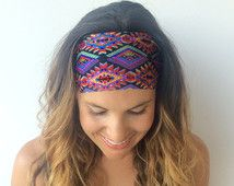 Yoga Headband - Workout Headband - Fitness Headband - Festival Print - Boho Wide Headband