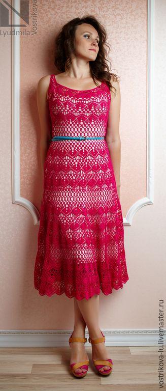 """Купить Платье """"Малиновое настроение"""" - фуксия, однотонный, малиновый, платье, платье летнее, платье крючком"""