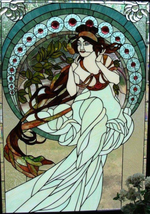 """Alphonse Mucha Muse 38.75 x 55.5"""" Stained Glass Pattern."""