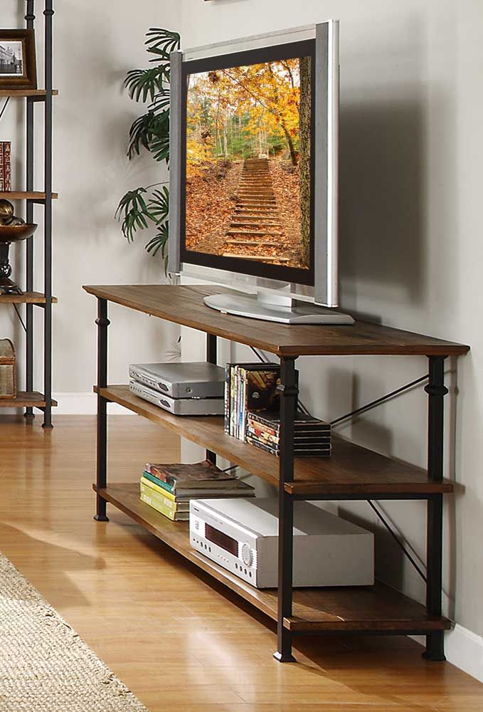 Love this style of sofa table.  Factory Sofa Table - Solid Top - Rustic Brown - Homelegance