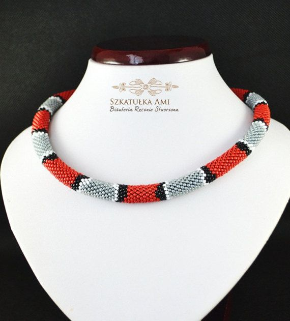 Snake necklace seed beads gray red black white pattern snake