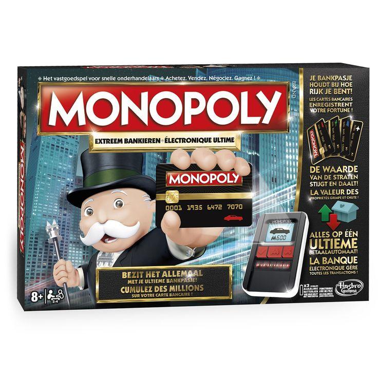 Daag vrienden en familie uit en speel het Monopoly Extreem Bankieren spel! Dit spel biedt een eigentijdse versie van het Monopoly spel waarin het bekende Monopoly geld niet meer bestaat! Dankzij de ultieme betaalautomaat met touch-technologie kunnen spelers direct bezittingen kopen, huur innen of betalen en hun pasjes scannen.Elke speler begint met een geldbedrag op z'n bankpasje door z'n pasje te scannen in de ultieme betaalautomaat. Gedurende het spel scannen de spelers hun pasjes en…