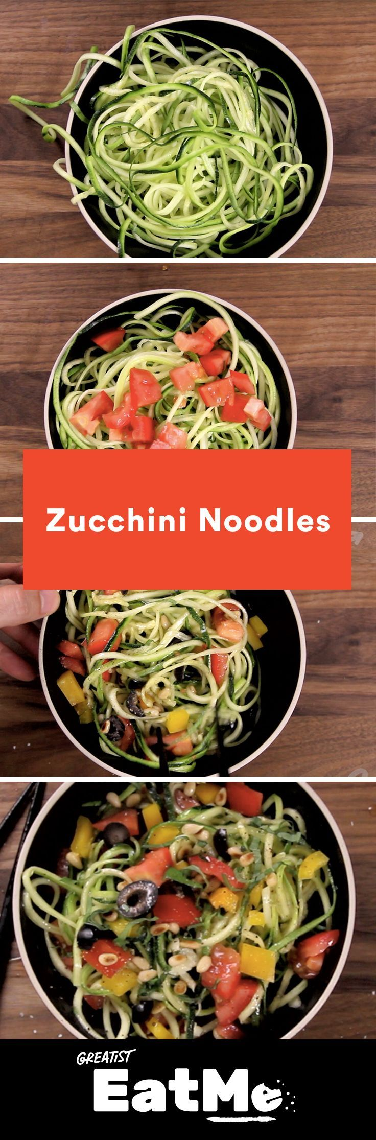 You need this zucchini noodle dinner in your life. #spiralized #zucchini #noodles http://greatist.com/eat/zucchini-noodles-recipe-video