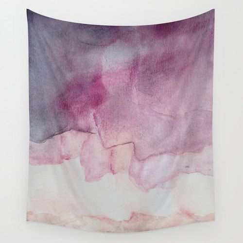 Purple wall tapestry with printed fine art desing  Based on my original watercolor painting Do the Skies Crumble  Lightweight polyester suitable for