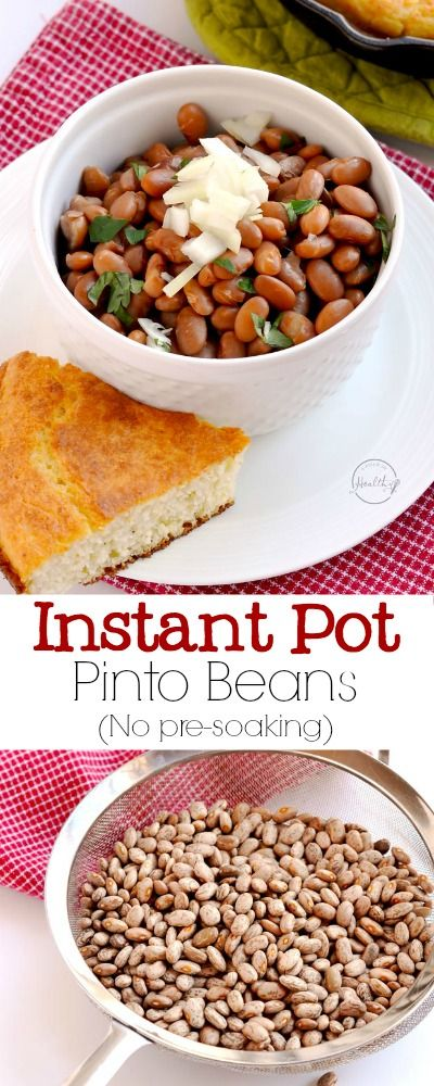 I will show you how to cook dry pinto beans in the Instant Pot, and there is no pre-soaking required! Delicious, simple and easy! | APinchOfHealthy.com