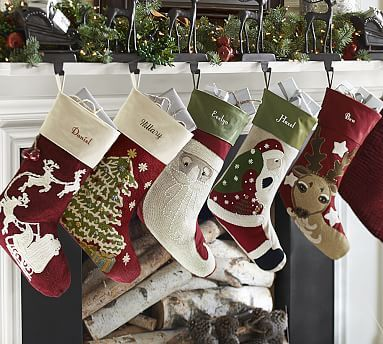 Crewel Embroidered Stockings -they sell out quick! #potterybarn
