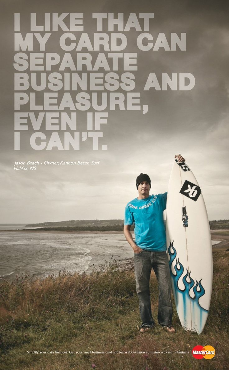 """mastercard business ad campaign   Mastercard: """"Small business, Surfer"""" Print Ad by Maclaren Mccann ..."""