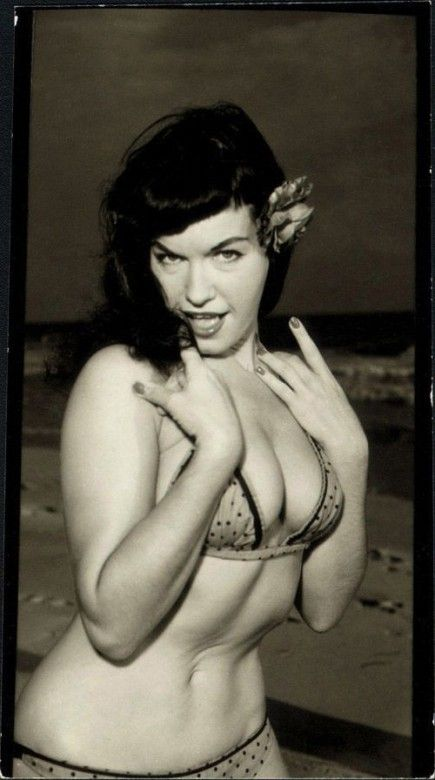 Betty Page Photos: Bettie Giving A Seductive Look On The Beach.