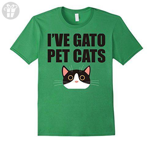 Mens I've Gato Pet Cats Spanish Funny Word Pun Animal Shirt Large Grass - Funny shirts (*Amazon Partner-Link)