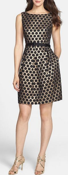 Dot jacquard fit & flare dress http://rstyle.me/n/v8crvnyg6