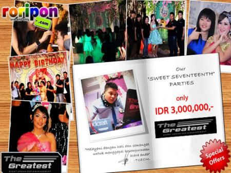 Celebrate Your Sweet 17th With Special Moment From The Greatest Event Organizer. Free Photographer (Worth Idr 1,200,000,-) + Pick Up Service Pre Sweet With Special Price Now Only Idr 3,000,000,- At www.roripon.com
