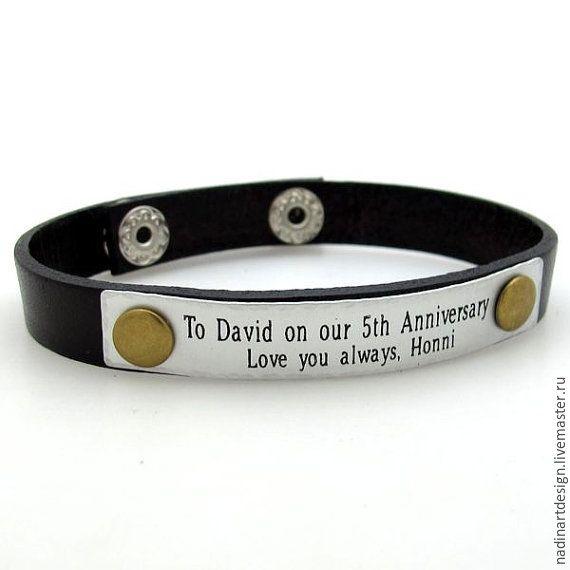 Купить Кожаный браслет с гравировкой на заказ. Мужской подарок на юбилей - коричневый, чёрный, браслет