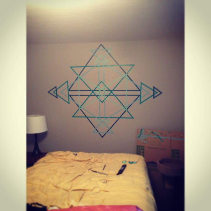 Washi tape wall art- Kinda like this but would definitely use different colors.