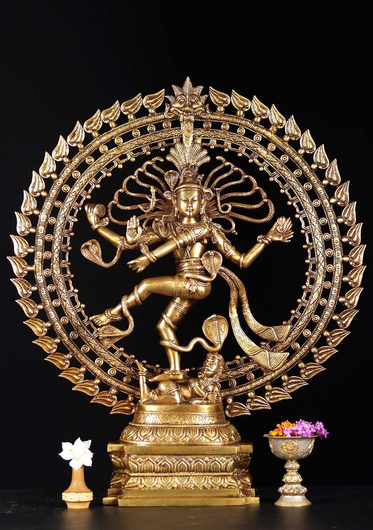 Brass Dancing Nataraja With Cobras 27""