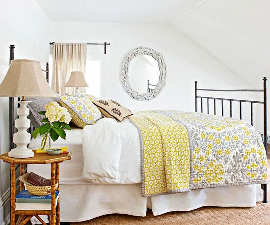 Gray and yellow patterns perk up a white bedroom. Tour the rest of this cozy cottage: http://www.bhg.com/decorating/decorating-style/cottage/small-cottage-decor/?socsrc=bhgpin121212yellowgraybedroom=8