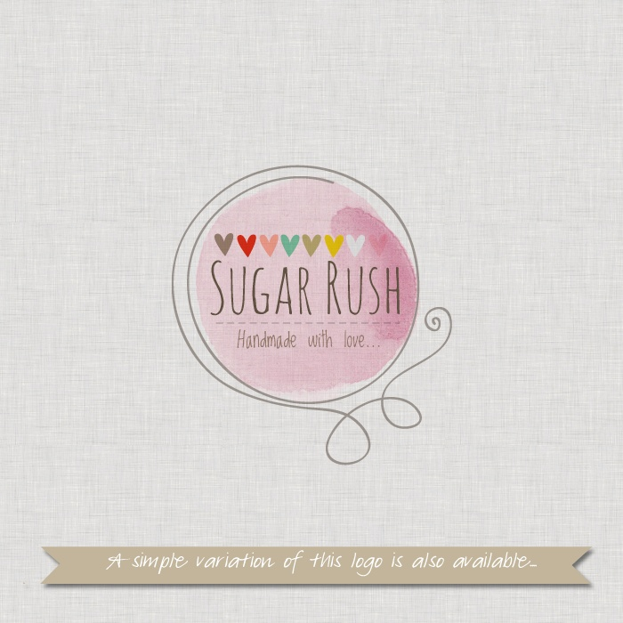 Pre-made Logo or Watermark  Design - Sugar Rush - Customised to your shop name. $20.00, via Etsy.