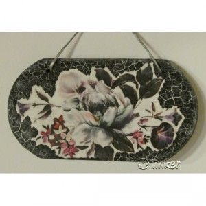 Decorative painting made with rice paper and black cracking paste