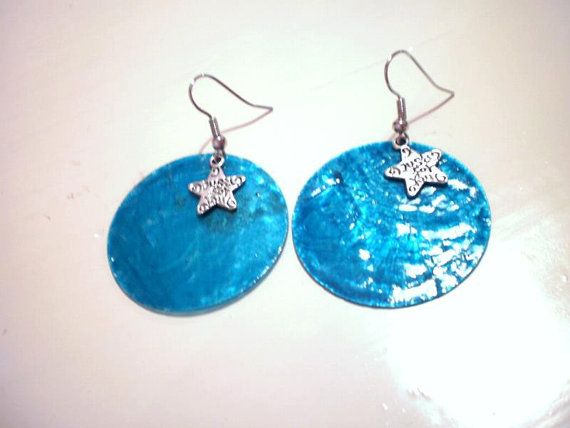 blue  round earrings with stars just for you by KaterinakiJewelry, $5.50