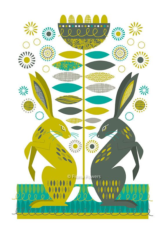 Decorative Hares, limited edition giclée print A4   Cool ...