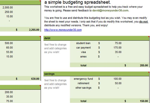 Free Monthly Budget sheet