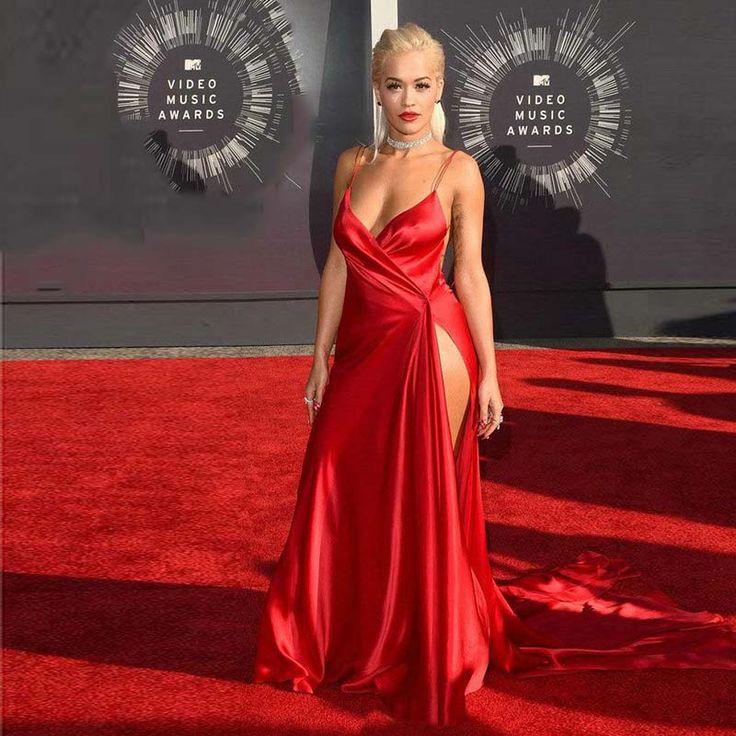 Халат де вечер рита ора красной ковровой дорожке сексуальная длинное вечернее платье с высокими боковыми разрезами спинки красный пром Vestidos де Noches