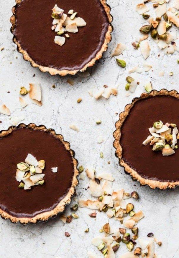 Coconut + Chocolate Pistachio Tart {vegan, gluten free}