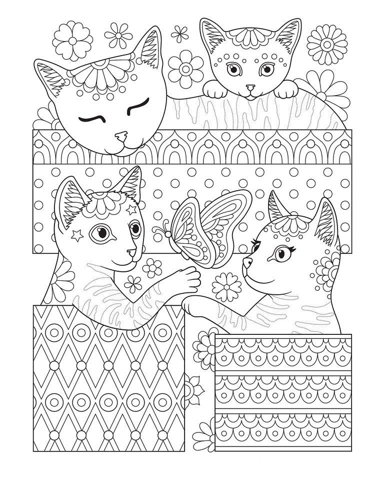Раскраски «Животные» - «Котята в коробках» | Раскраски ...