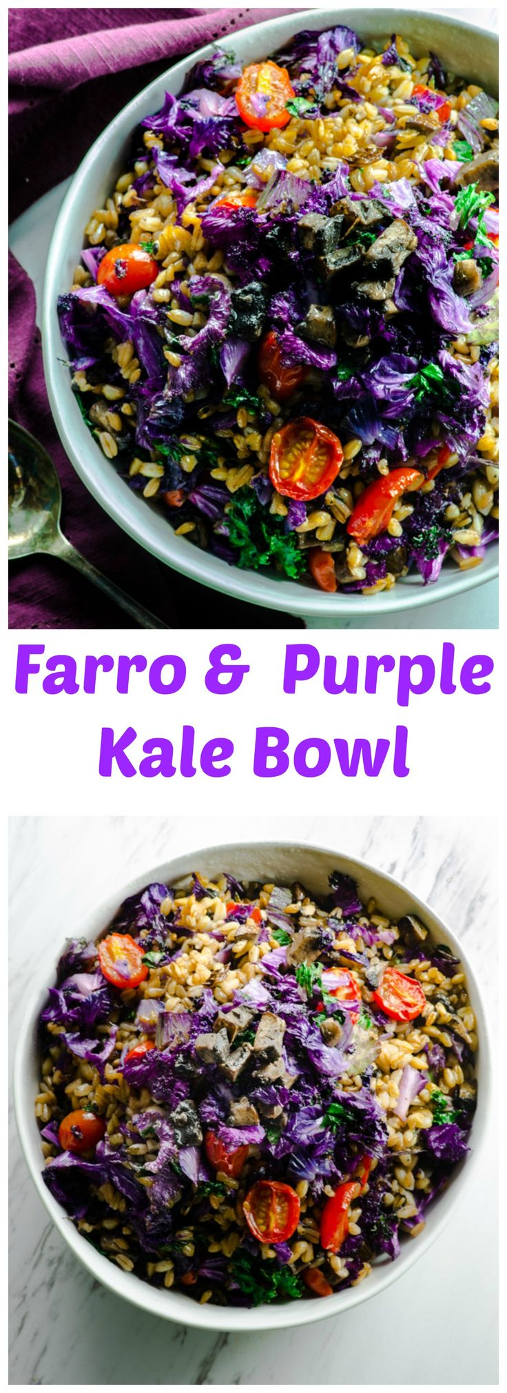 Farro and purple kale bowl - Super healthy vegetables, filling whole grain farro make a delicious vegetarian and vegan main dish.