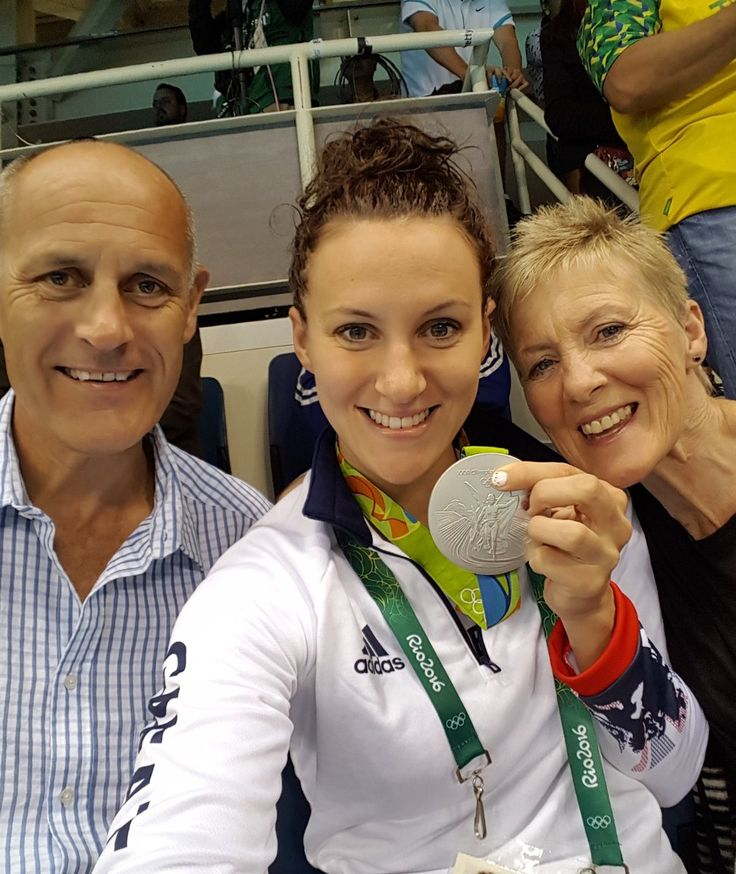 Jazz Carlin, a swimming silver medallist for Great Britain, with her parents at Rio 2016