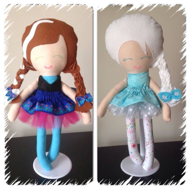 Handmade Frozen snow sisters Elsa and Anna Inspired Dolls with white Tutu skirt
