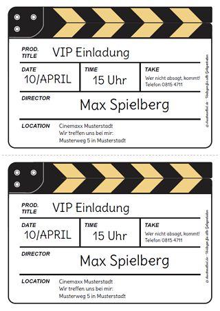 Kostenlose Einladung Filmklappe Mehr