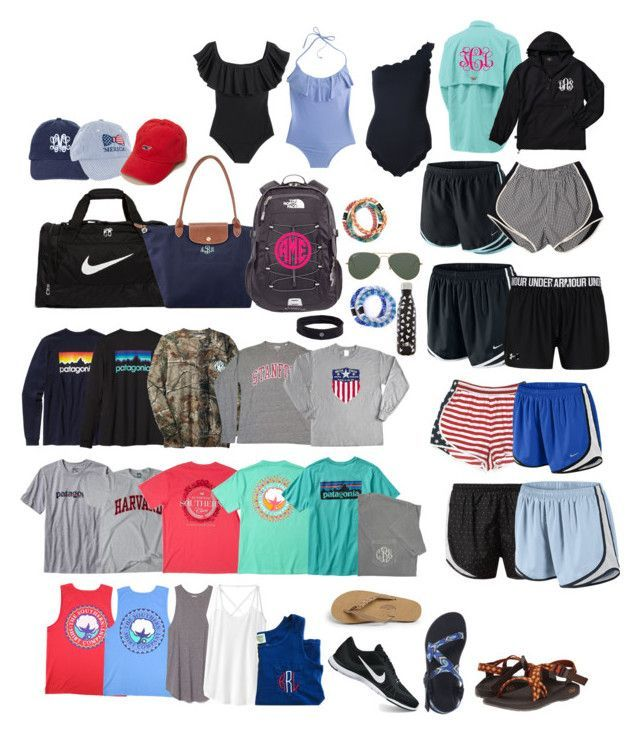 """""""CHURCH CAMP PACKING!!"""" by thatprepsterlibby ❤ liked on Polyvore featuring Patagonia, Athleta, NIKE, Longchamp, The North Face, Vineyard Vines, Rainbow, Chaco, Ray-Ban and Victoria's Secret"""