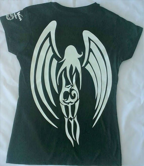 Women's Ladies Graphic Tribal T/Shirt (Tribal Angel) - Tribal - Tribal Tee - Tribal style - Tribal wear - Tattoo graphic - Tribal graphic