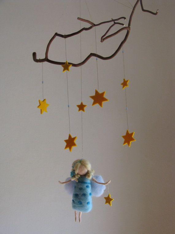 Needle felted good night fairy crib mobile, waldorf inspired