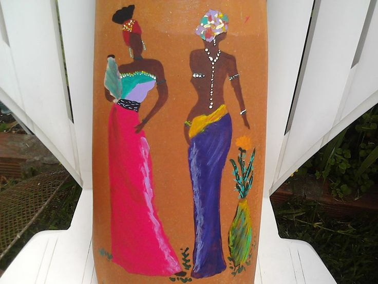 tejas coloniales pintadas a mano con figuras africanas