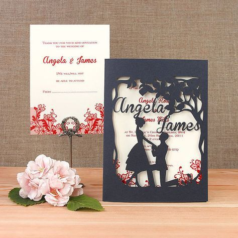 She Said YES Intricate Laser Cut Wedding Invitation RSVP Set Personalized Names On Cover With Complimentary Fitted Envelopes