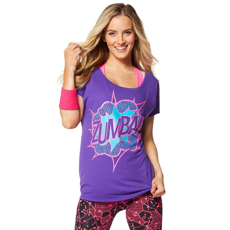 ZUMBA POW TEE - GALAXY -------- Wow everyone on the dance floor in the Zumba POW Tee! With a hi lo hem and small cap sleeve, this lightweight tee makes a statement everywhere you go.
