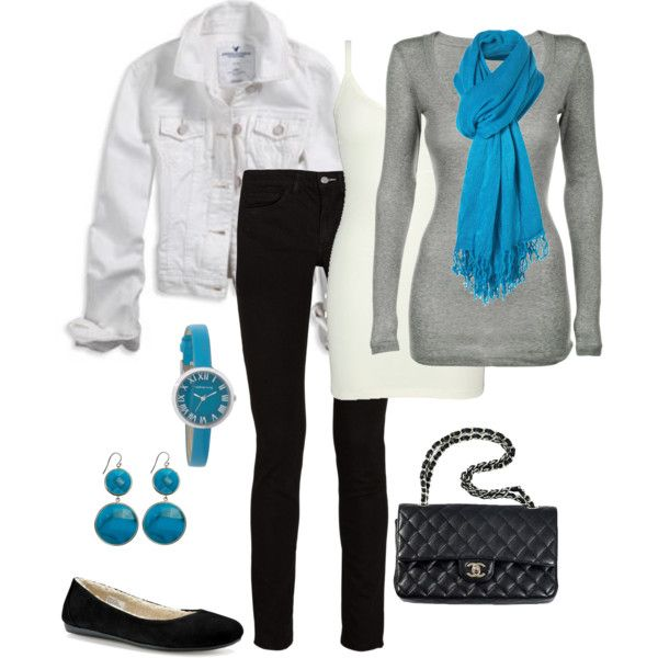 The blue just pops!!  Great combination of color! But I would probably nix the white jean jacket