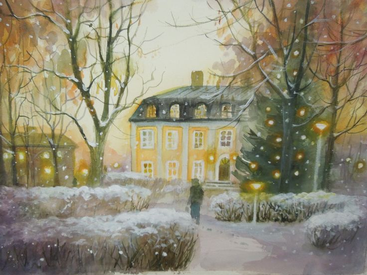Decemberafton Akvarell